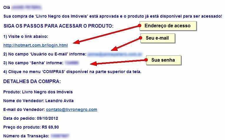 Exemplo do e-mail que você receberá com os dados para acessar a página de download do livro