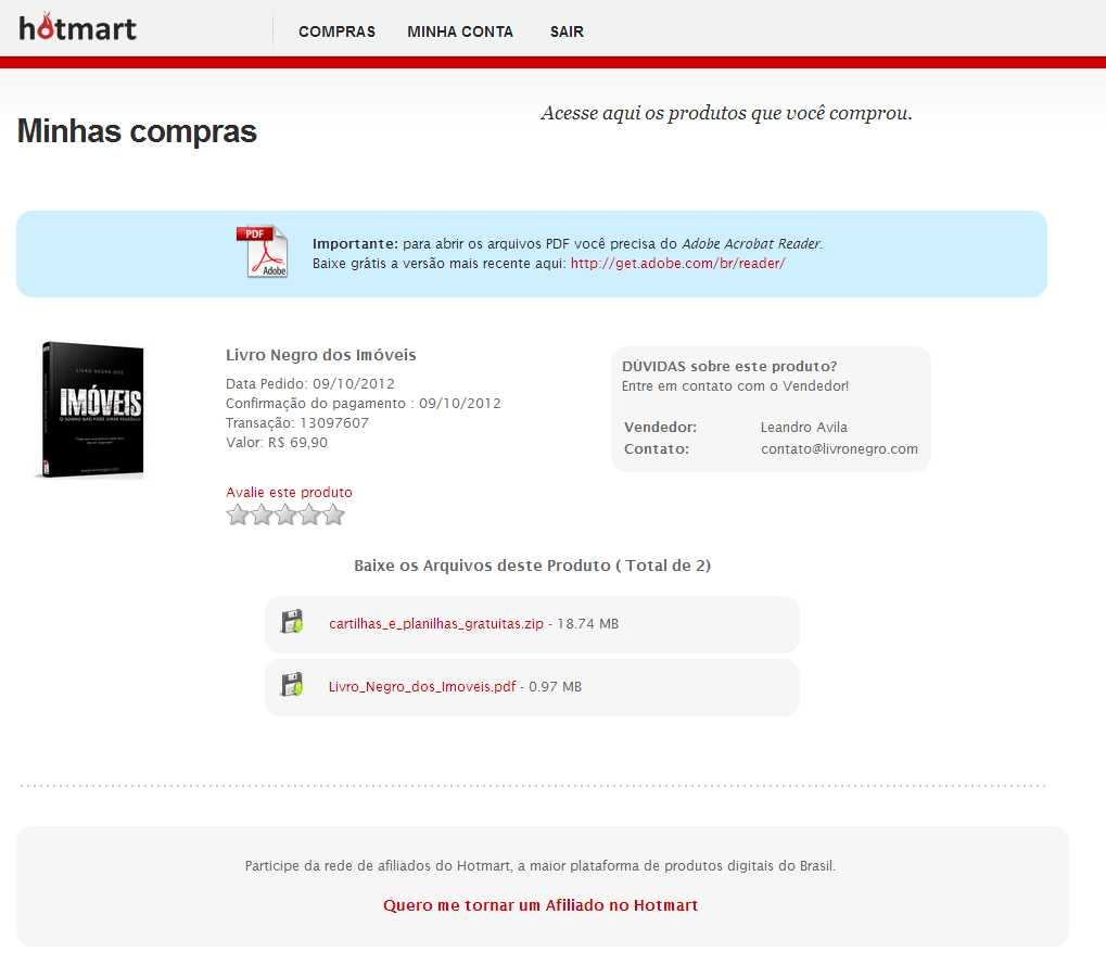 Foto da página onde você fará o download do arquivo PDF do livro
